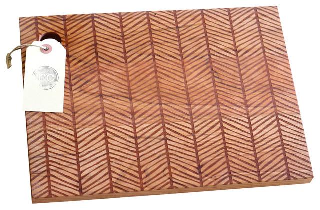 """Solid Wood Herringbone Pattern Cutting Board, Cherry, 13"""" x 9.5"""" - Modern - Cutting Boards - by ..."""