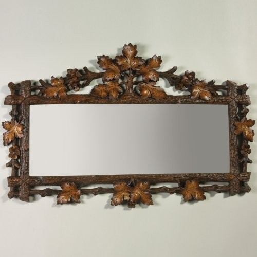 Oklahoma Casting Carved Oak Leaf Rectangle Wall Mirror traditional-mirrors