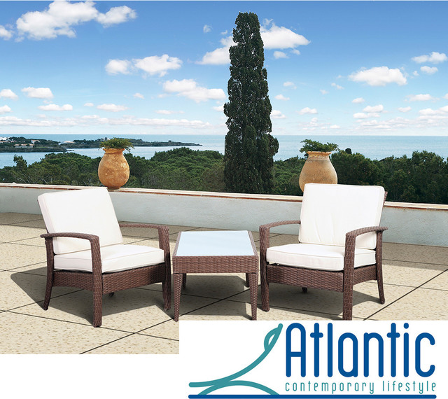 Atlantic Mykonos Brown Deluxe 3 Piece Balcony Set Contemporary Outdoor Lounge Furniture