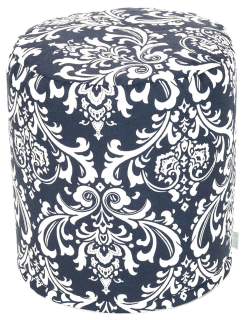 Outdoor Navy Blue French Quarter Small Pouf modern-footstools-and-ottomans