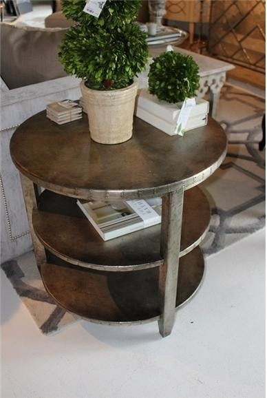Aluminum Riveted Two-Tier Side Table eclectic-side-tables-and-end-tables