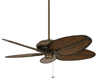 Naples Outdoor Ceiling Fan in Aged Bronze with All-weather Woven Bamboo Blades - Traditional ...