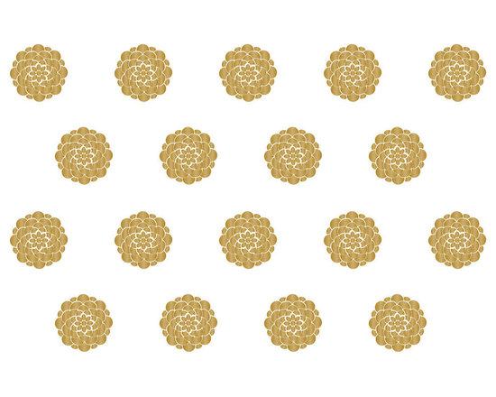 Dana Decals - Large Geometric Flower Wall Pattern Decal - Large Clean Modern Graphic Geometric Flower Pattern in Metallic Gold