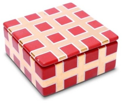 Waylande Gregory Grid Square Box Red home-decor