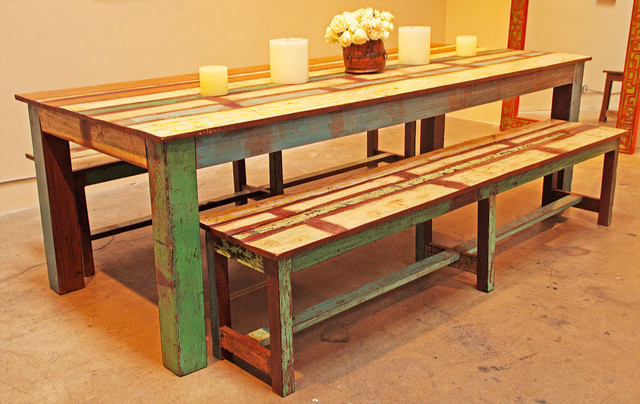 Reclaimed Wood Dining Set eclectic