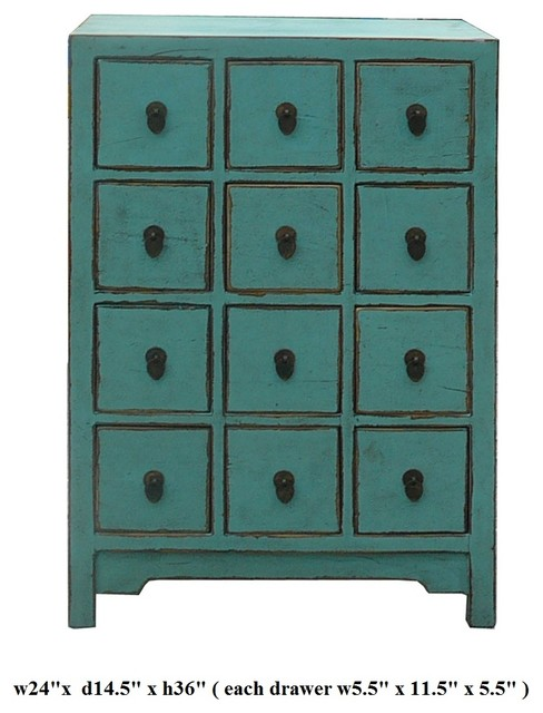 Chinese Pastel Blue 12 Drawers Storage Cabinet - Eclectic ...