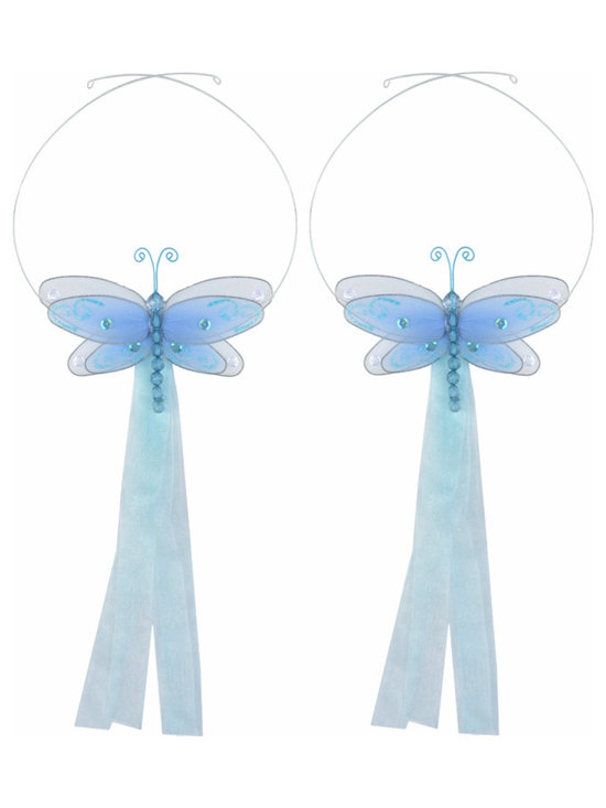 White Multi-Layered Curtain Tieback Set Dragonfly 2pc Pair - Beautiful ...