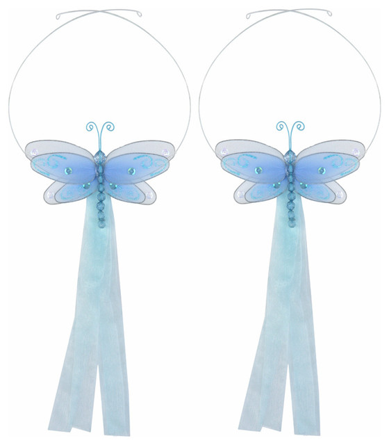 Dragonfly Tie Backs Blue Multi-Layered Dragonflies Tieback Pair Set Decorations contemporary-window-treatment-accessories