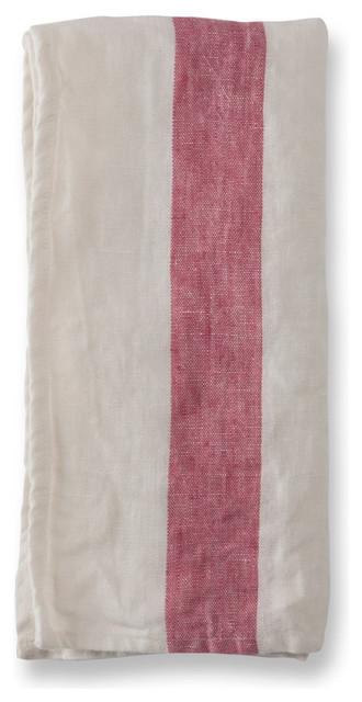 Raspberry Stripe Arles Linen Napkins, Set of 4 contemporary-napkins