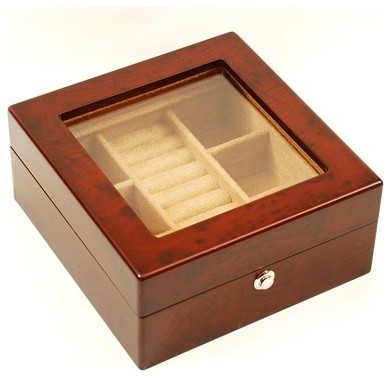 Glass Top Jewelry and Watch Box modern-bath-and-spa-accessories