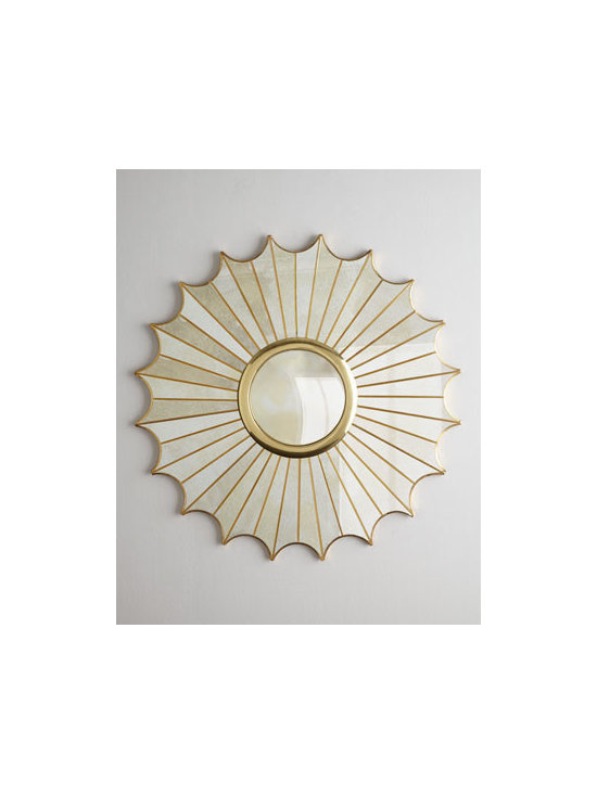 """Regina-Andrew Design - Regina-Andrew Design """"Starburst"""" Panel Mirror - Golden rays of alternating lengths and a deeply scalloped frame combine to form a stunning starburst-design mirror that brings drama, depth, and dimension to any living space. Handcrafted of metal and mirrored glass. Hand-braised finish. 40""""Dia. x 3""""D. Imported. Boxed weight, approximately 39 l"""