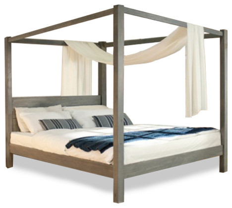 Cube 4 poster queen timber bed contemporary canopy for Beds sydney