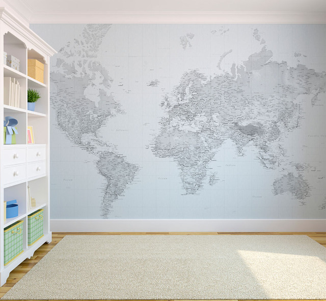 Black and white world map wallpaper eclectic-wallpaper