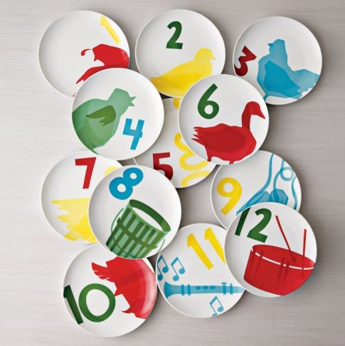 12 Days of Christmas Canapé Plates modern dinnerware