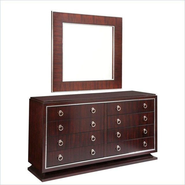 broyhill pinstripe 8 drawer double dresser and mirror set