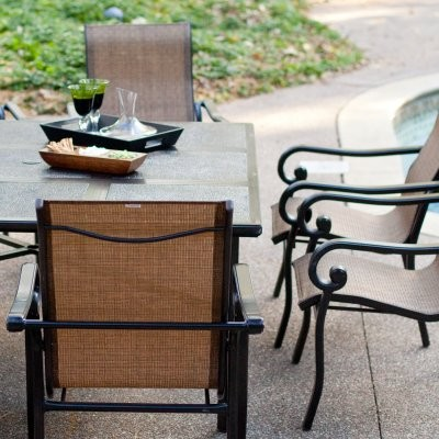 Summer winds ashton square tile top patio dining set for Summer winds patio furniture