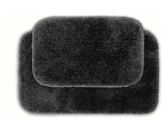 Sands Rug - Posh Plush Charcoal Washable Bath Rug (Set of 2) - Revel in spa-like luxury every time you step into your bath with the Posh Plush collection of bath rugs. The amazingly soft, yet durable, nylon plush is machine washable, and each floor piece has a non-skid latex backing for safety.