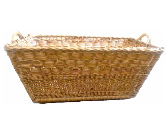 French Exlarge Basket - Beautiful, vintage, French gathering basket. Tightly woven wicker that has an aged patina. These are wonderful to store anything! So may uses, from laundry to shoes, to firewood. This does have a structured base as well to prevent wear on the bottom.