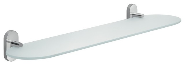 20 Inch Rounded Frosted Glass Bathroom Shelf
