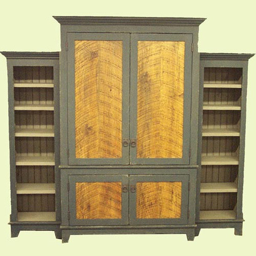 Antique Barn Wood Armoire with Two Bookshelves - Traditional - Armoires And Wardrobes - by ...