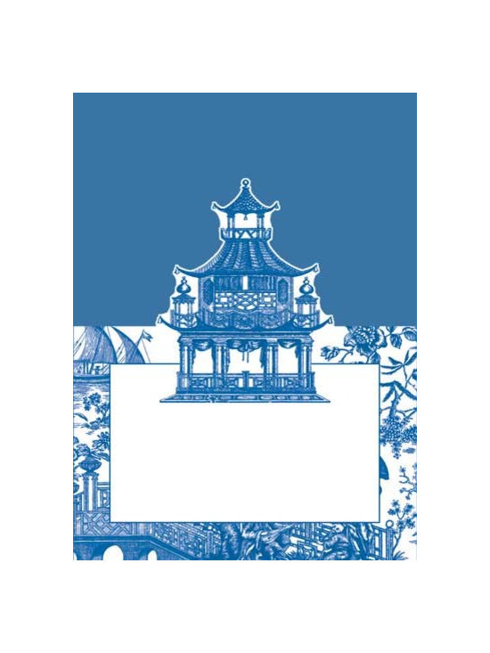 Place Cards, Die Cut Chinoiserie Toile Blue -
