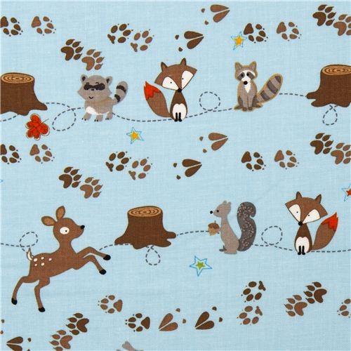 Blue riley blake fabric deer fox racoon paw fabric by for Fox print fabric