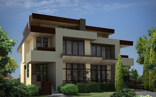 Front Modern Entry of a Semi-detached project modern-rendering