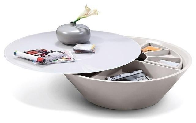 Modern Round Gray Glass Coffee Table with Storage Destiny modern-coffee-tables