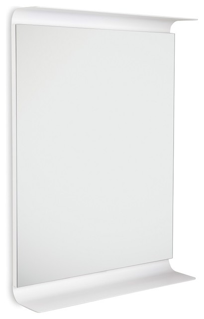 Curva 5689 LED Lighted Wall Mirror with Shelves, White contemporary-wall-mirrors
