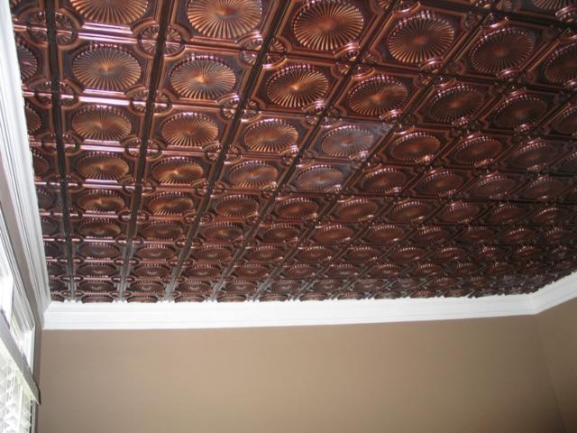 Faux Tin Ceiling Tile Glue up 24x24 (Model 106) - Antique Copper traditional-wallpaper