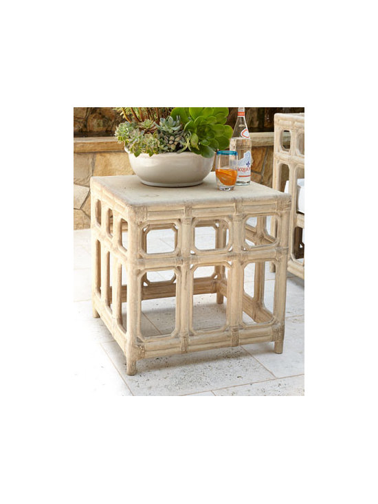 "Horchow - Faux-Bamboo Side Table - Exclusively ours. Outright inspired, alfresco entertaining is more inviting with this outdoor side table crafted to resemble bamboo. Hand cast of crushed stone/polyester resin/styrene/fiberglass. Hand-painted lacquer finish. Outdoor safe. 24""Sq....."