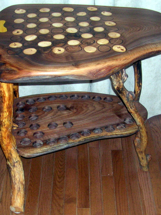 """Live Edge Walnut Chess Table. - 2+"""" thick Walnut slab with 3/8"""" Hard Maple branch slices, inlaid, hand etched opposing side, thick black oak legs, lower slab, I routered out pockets for the 5-6"""" Chessmen, including the Kings Place, Its sealed with 5 coats of Teak Wood Oil, then rubbed a hundred more times."""