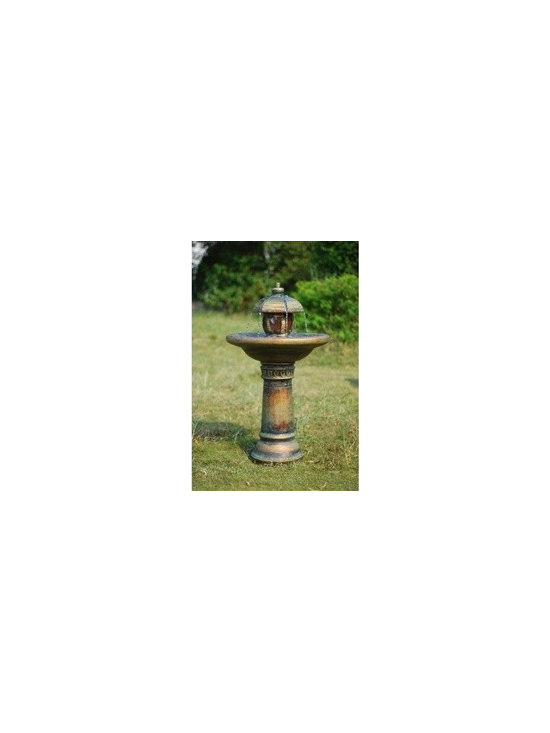 "35"" Two Tiered Garden Fountain Lit with Underwater LED light - This two tiered Zen garden fountain with a patina finish includes LED underwater light and is made of a durable fiberglass resin. Includes a pump and underwater LED light."