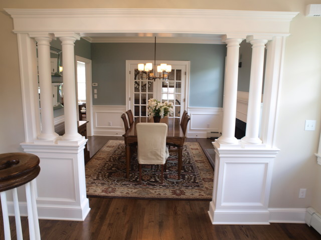 Low walls interior columns for Dining room designs with pillars