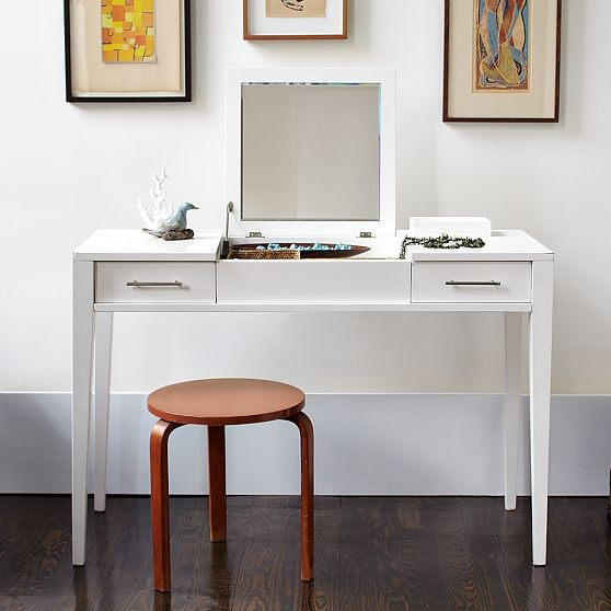 Narrow leg vanity modern nightstands and bedside for Skinny vanity table