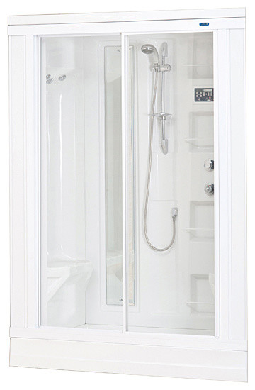 Aston White 86-inch Drop-in 18-jet Steam Shower contemporary-showerheads-and-body-sprays