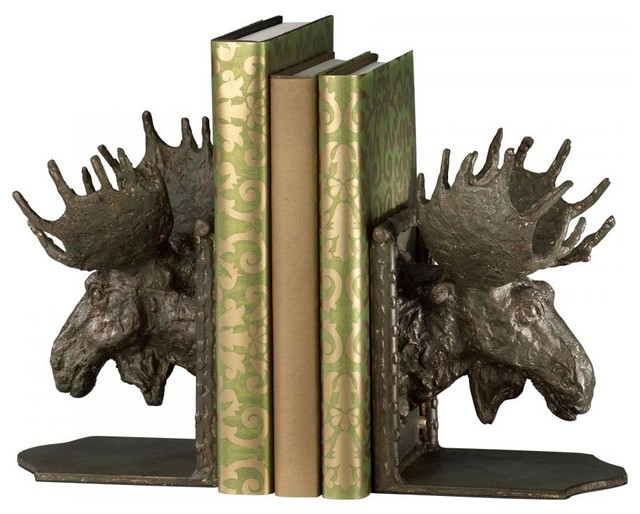 Cyan Moosehead Bookends S/2 Bronze 03072 contemporary-bookends