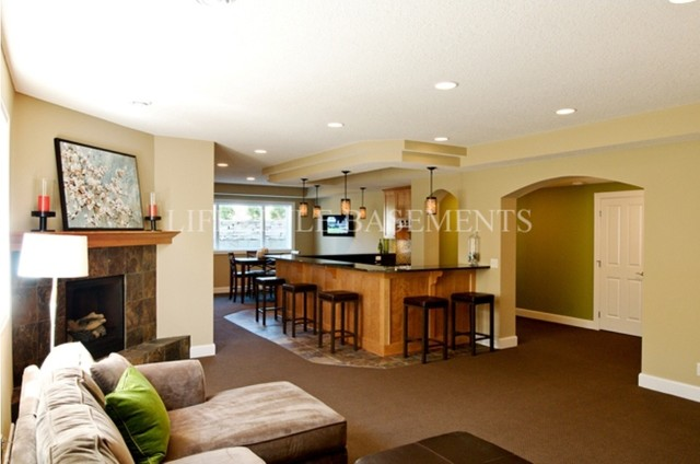 Wet Bar; Fireplace traditional-family-room
