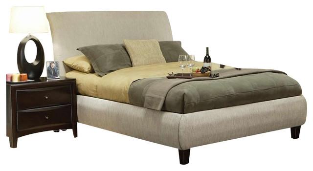 coaster phoenix upholstered bed 3 piece bedroom set in tan
