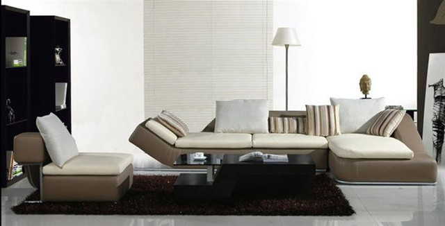 Elegant Curved Sectional Sofa in Leather contemporary sectional sofas