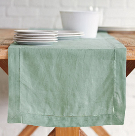 Hemstitch Linen Table Runner - traditional - tablecloths - by
