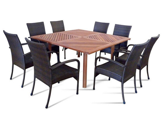 Vifah - Nine Piece Outdoor Dining Set with Square Table -