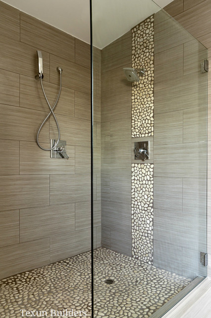 Master walk in shower modern bathroom