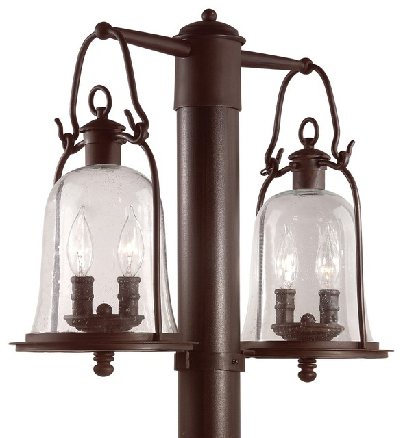 Owings mill collection 21 wide outdoor double post light for Outdoor light post fixtures