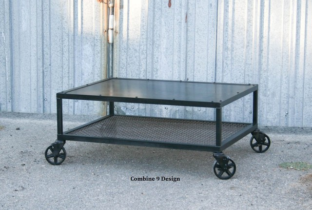Vinatage Industrial Coffee Table. Made of Steel. Mid Century. Casters. Urban, industrial-coffee-tables
