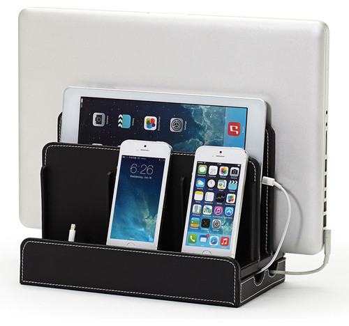 Faux Leather Multi-Charging Station, Black transitional-desk-accessories