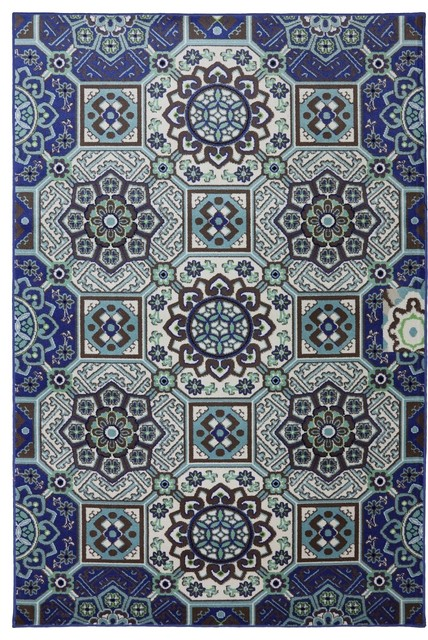 Panoramic Mosaic Fountain Wildaster Sky Outdoor Indoor Floral 8 ' Square Rug rugs