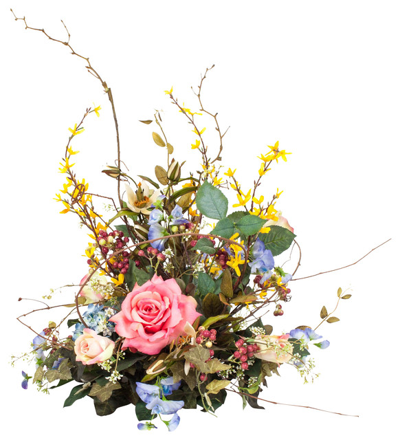 Silk Floral Spring Centerpiece Arrangement Traditional Artificial Flowers Plants And Trees