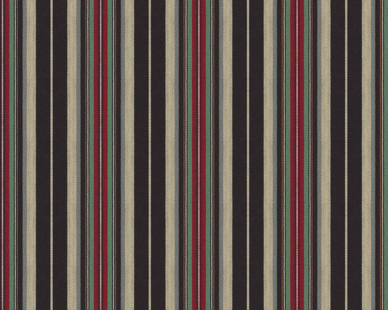 Highway to Dwell : Java - Dark brown, red & mint stripe woven fabric.