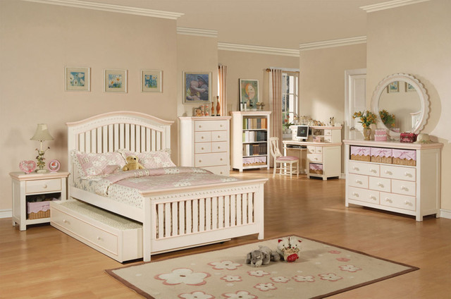 White And Pink Girls Bedroom Set Contemporary Kids Bedroom Furniture Sets